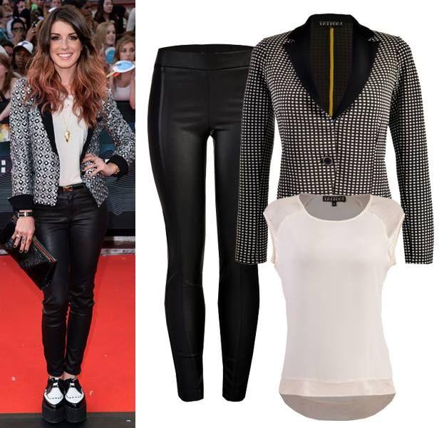 Look inspirado por la actriz Shenae Grimes. Saco, blusa y pantalón en puntos de venta El Palacio de Hierro.