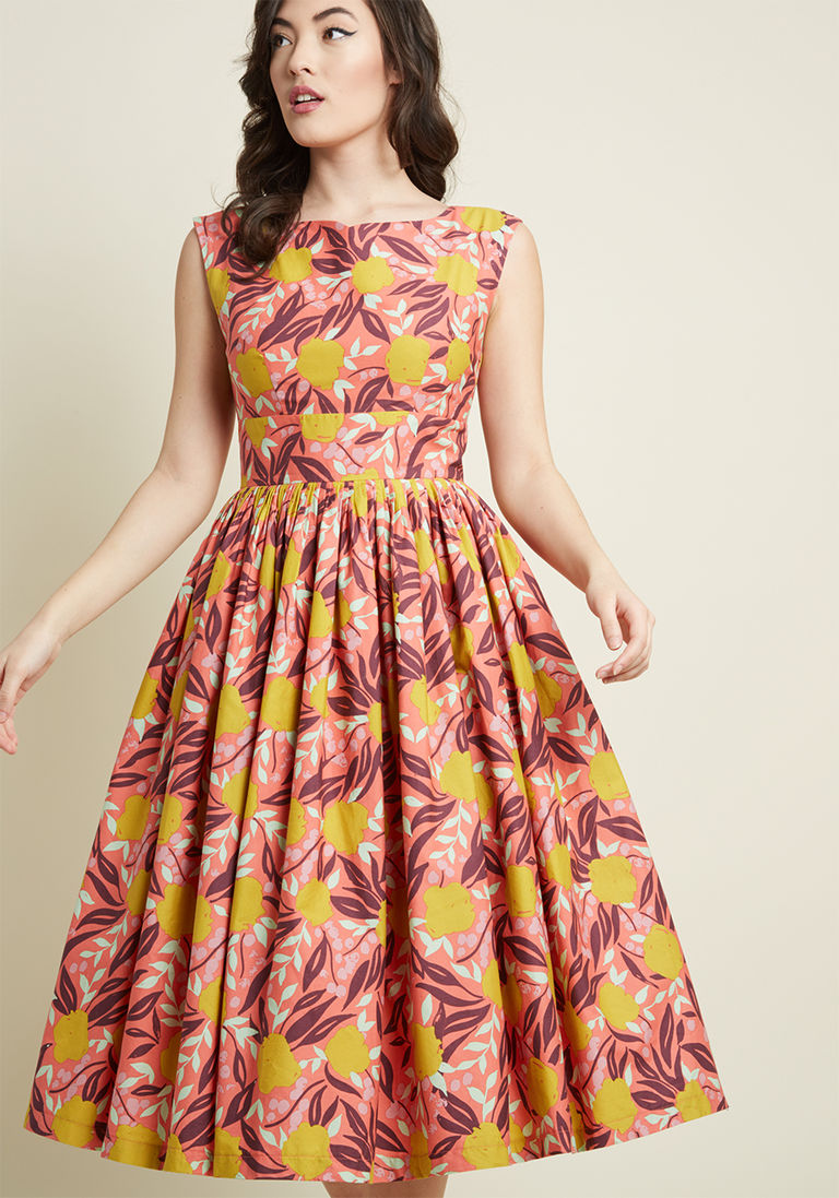 Fabulous Fit And Flare Dress With Pockets In Coral Floral Fit And Flare Dress Flare Dress Fashion
