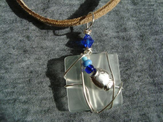 Unique Wire Wrapped Recycled Glass Necklace by UniqueChiqueJewelry, $11.00
