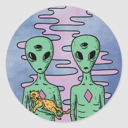 trippy alien stickers - classic gifts gift ideas diy custom unique