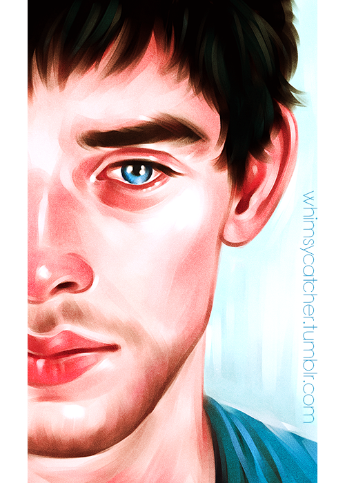"Merlin fan art by WHIMSYCATCHING // ""There was a boy, A very strange, enchanted boy. They say he wandered very far, Very far, over land and sea. A little shy and sad of eye, But very wise was he…(x) Merlin is totally Arthur's ""Nature Boy""! <3 So I made some time between a busy week and a busy weekend to paint another teary-eyed Colin. Aahhh, I just can't stahhhp…"""