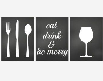 Wall Decor Kitchen Art Prints Set Of 3 Prints For Kitchen Eat Drink And Be Merry