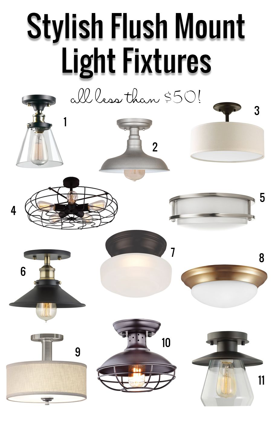 Stylish Flush Mount Light Fixtures Under 50 So Many Great Affordable Options Light Fixtures Flush Mount Ceiling Mount Light Fixtures Kitchen Ceiling Lights