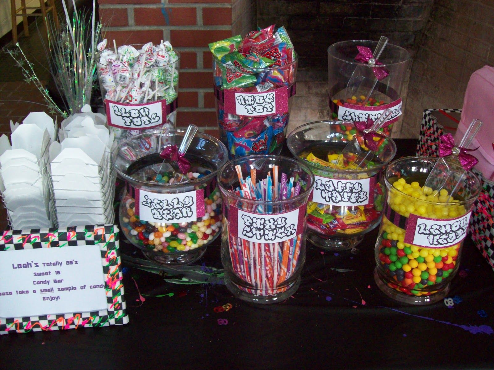 Candy Buffet Ideas For Sweet Sixteen - 80s sweet sixteen brown sugar custom cakes leah s totally 80 s sweet 16 80s candy80s themecandy tablesweet