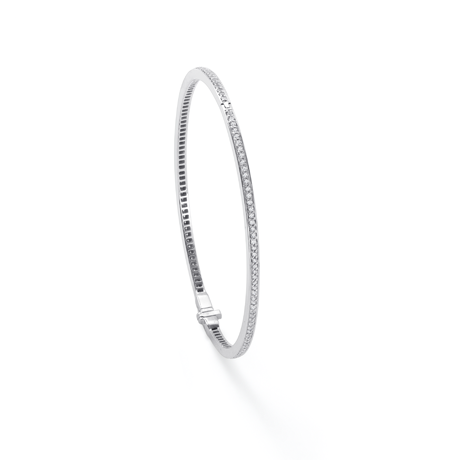 For Her - White Gold Round Full-Pave Bangle