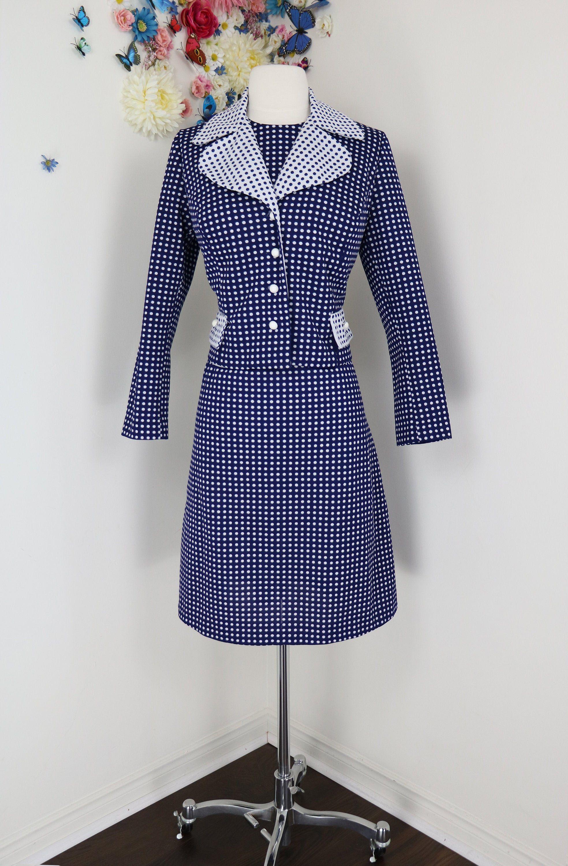Vintage Dress 80s Peplum Navy Blue Pleated Skirt White Midi Mididress Buttons 1980s Size Large