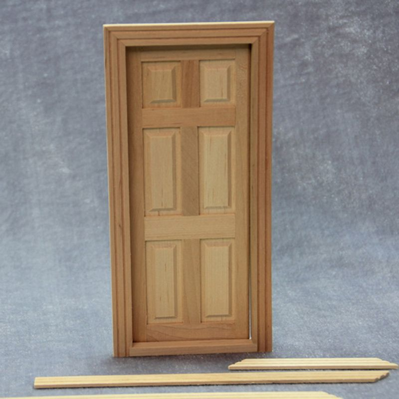 1 Pc 1:12 Dollhouse 6 Grids Wood Door Miniature DIY Interior Building Material