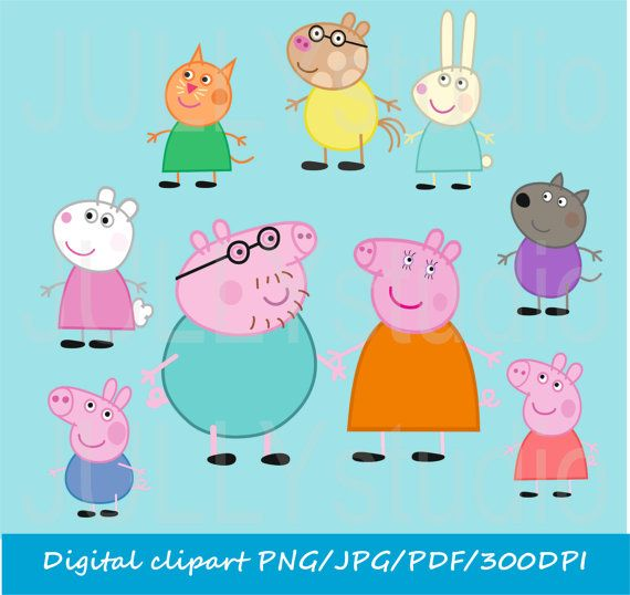 Digital Peppa Pig clip art / png / jpg / for personal and commercial use /
