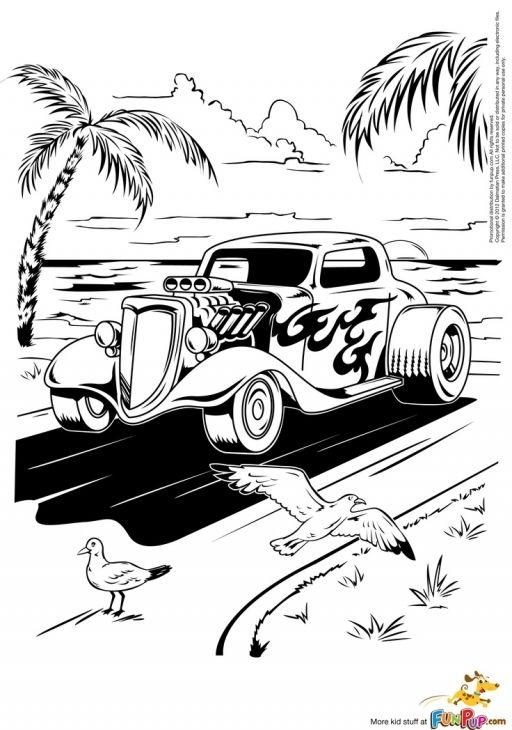 a hot rod car running along the beach coloring page - Hot Rod Coloring Pages