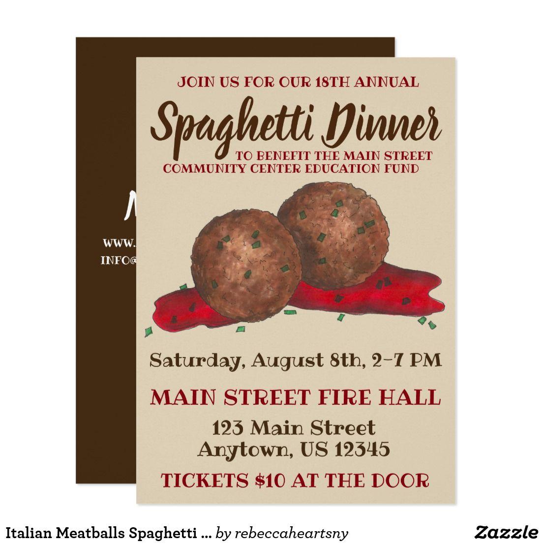 Italian Meatballs Spaghetti Dinner Charity Event