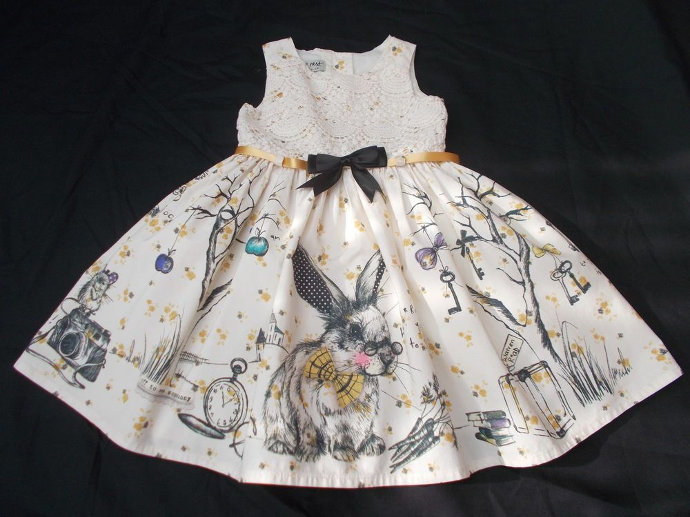BNWT Next baby girls Beautiful Lace Scene Bunny Prom Dress 12-18 ...