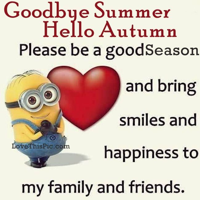 Goodbye Summer Hello Autumn Minion Quote
