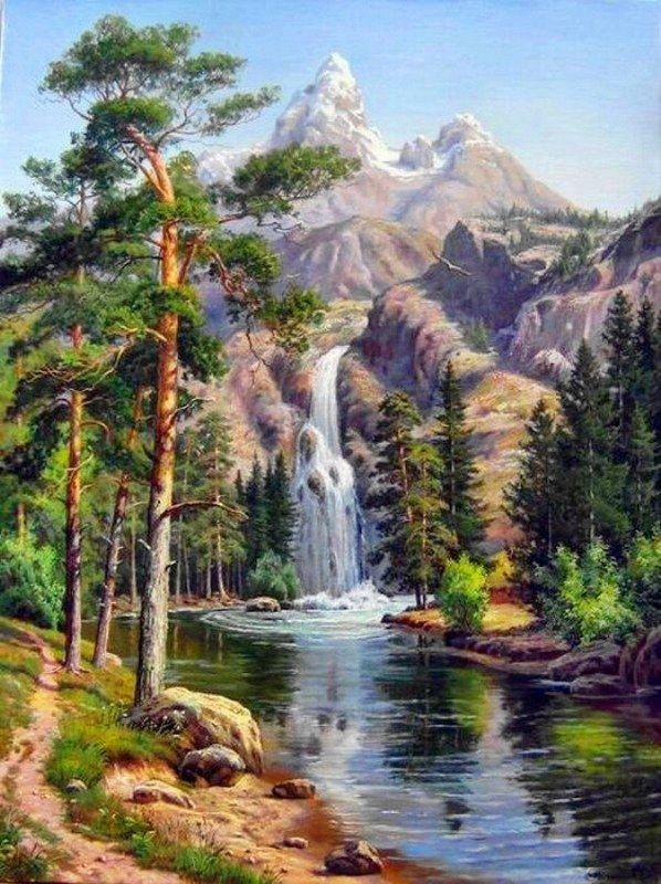 Chart Needlework Craft Dmc Counted Cross Stitch Pattern Pdf Waterfall Mountains Waterfall Drawing Landscape Paintings Landscape
