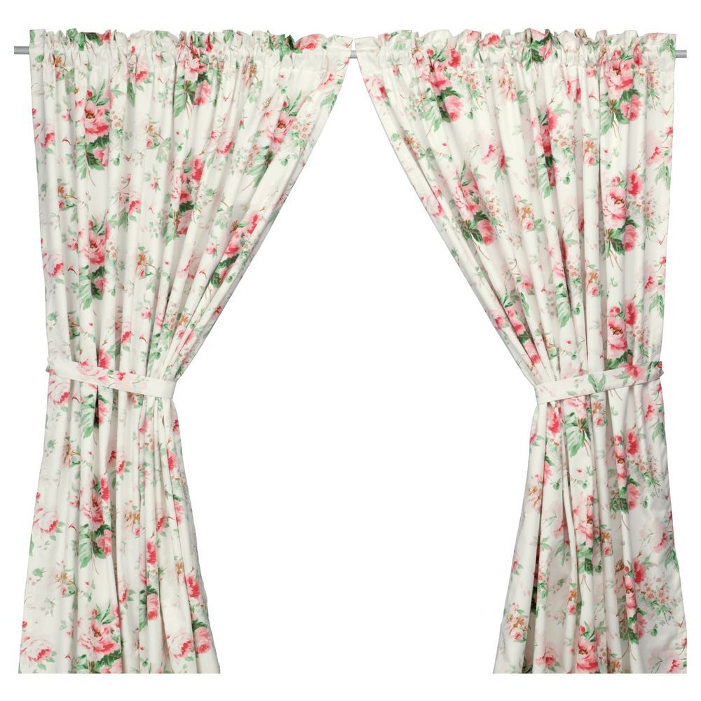 Ikea Emmie Pair Of Curtains Drapes White Pink Green Romantic