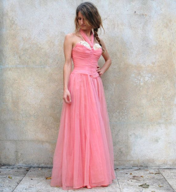 1950s prom dress / 50s strapless pink silk tulle evening dress ...