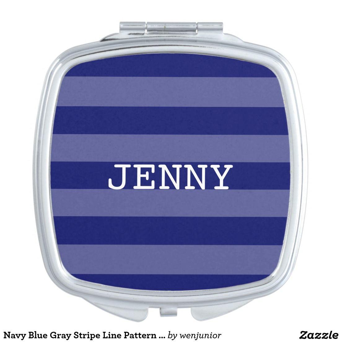 Navy Blue Gray Stripe Line Pattern Compact Mirror