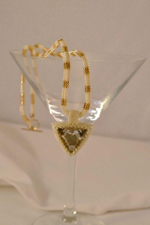 Beadwoven 23 MM Swarovski Crystal Triangle Pendant by CloesCloset, $100.00
