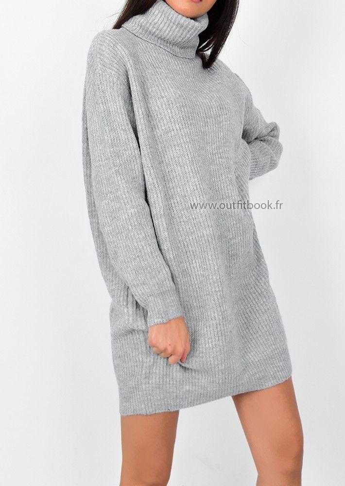ded98c1f4c9 Robe pull avec col roulé grise en 2019