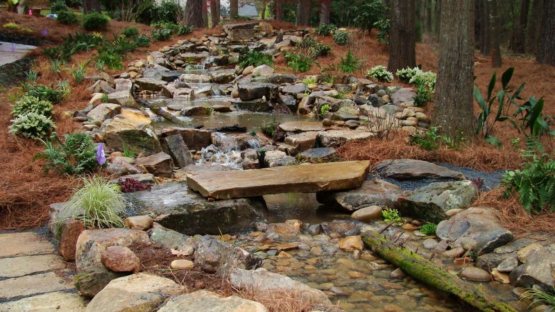 Man Made Mountain Stream With Pond Patio Fire Pit Playground Plants And Pathways Backyard Stream Backyard Water Feature Backyard