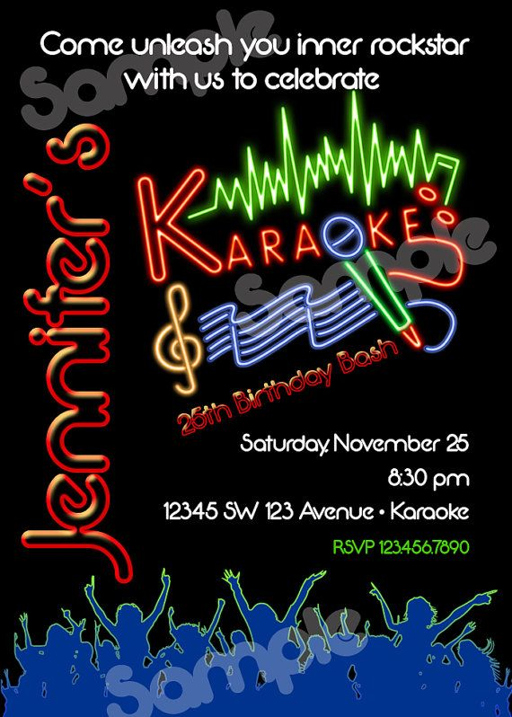 Karaoke Birthday Invitation Printable File Diy Karaoke Etsy Printable Birthday Invitations Birthday Invitations Karaoke
