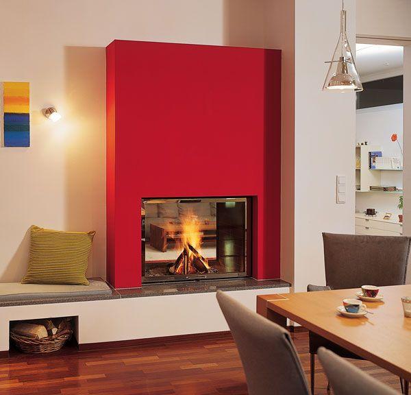 Chemin e d 39 angle hotte rouge tablette granit gris foyer ruegg saphir do - Cheminee double foyer ...