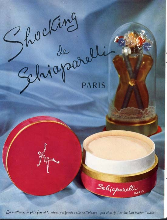 vintage advertisement for Elsa Schiaparelli's 'Shocking' scent  showing the actual bottle and dusting powder.