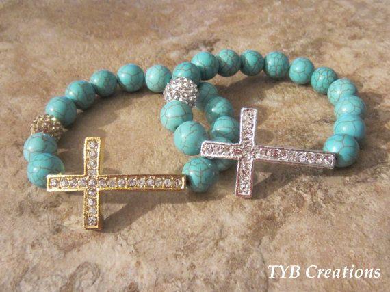 Blue Sideways Cross Bracelet NEW LISTING by TYBCreations on Etsy