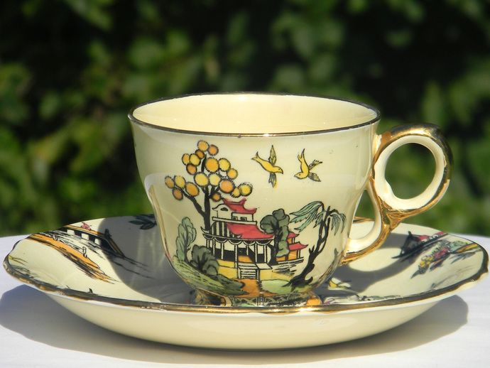 "Rare Royal Winton Demitasse Tea Cup and Saucer - Gimwades ""Pekin"" Hand Painted Demi 1263 by BarnKittyTreasures, $45.00 USD"