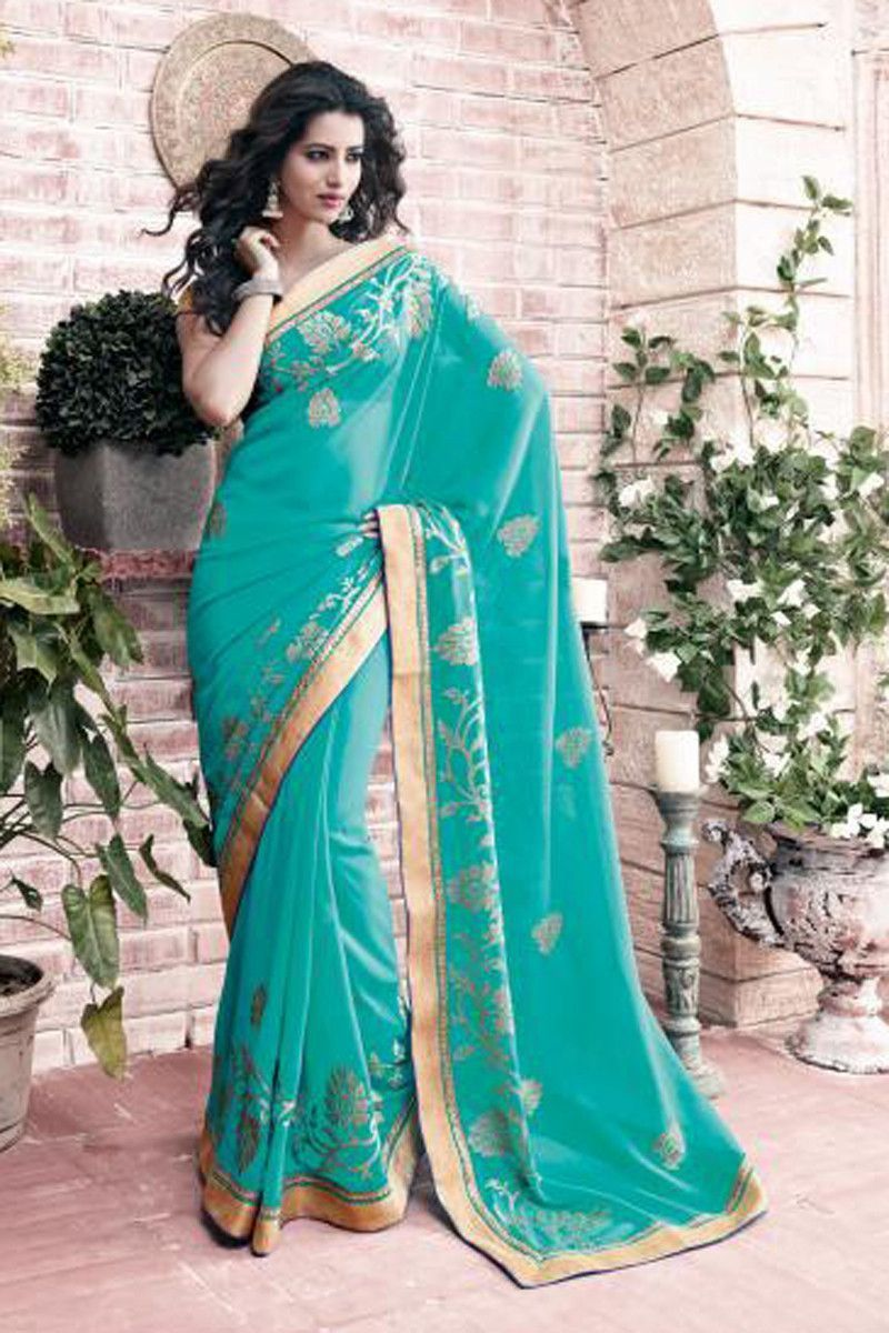 Buy Blue Chiffon Party Wear Saree Online in low price at Variation. Huge collection of Party Wear Sarees for Party, Festivals, Engagements and Ceremonies. #party #partywearsarees #sarees #onlineshopping #latest #lowprice #variation. To see more - https://www.variationfashion.com/collections/party-wear-sarees