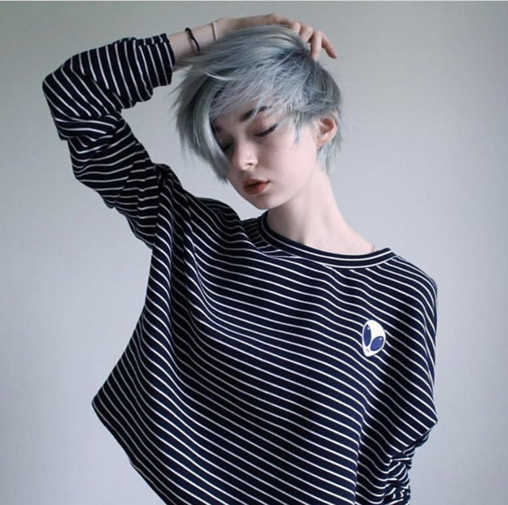 Koko alien striped long sleeve croptop aliens short hair and people