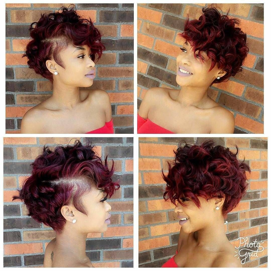 see tips to get this sexy burgundy messy curly pixie and