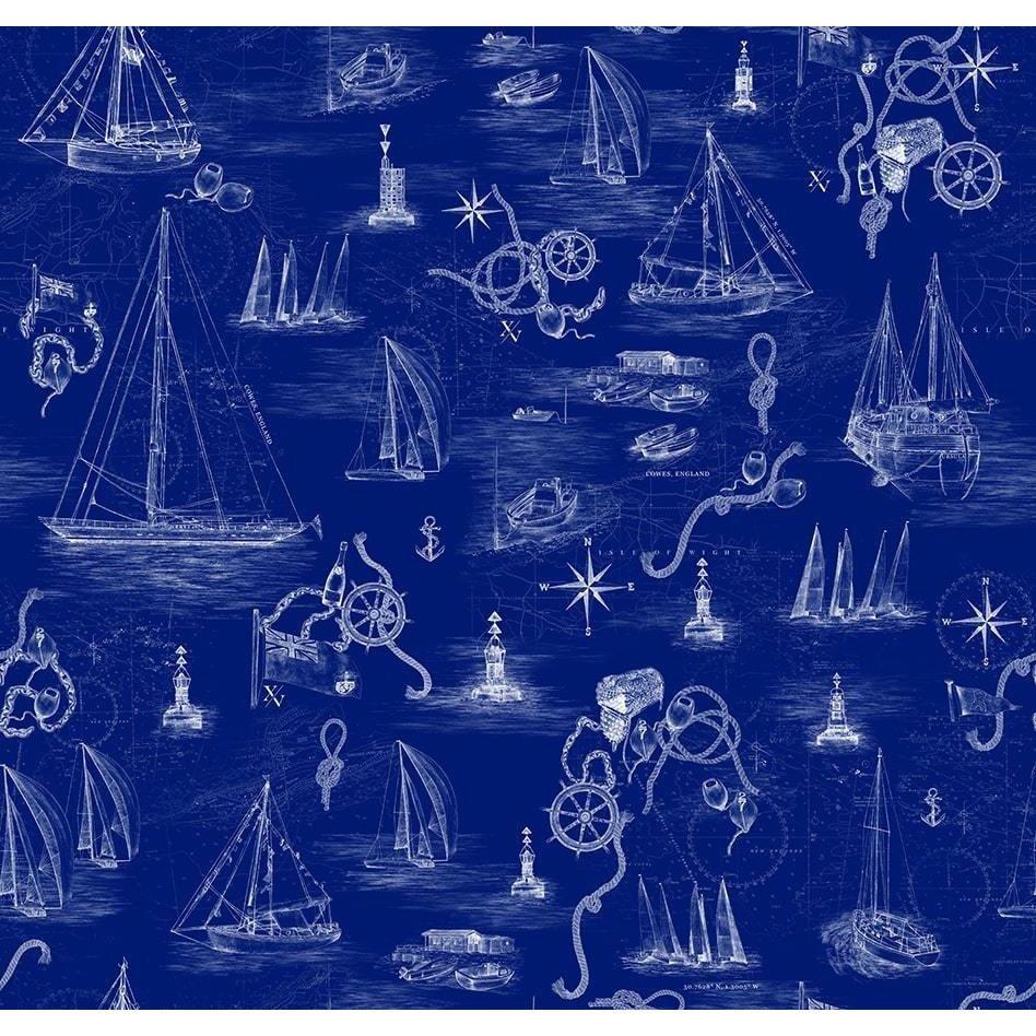 Cowes Mural Blue Wallpaper