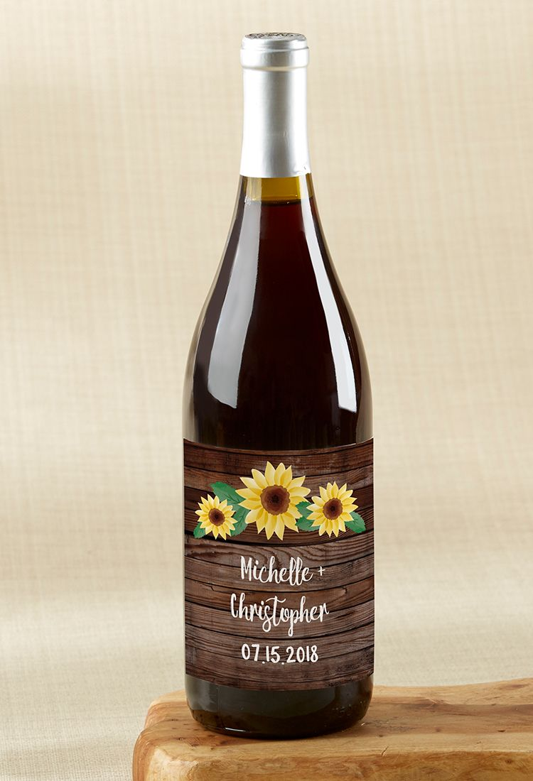 Personalized Sunflower Wine Bottle Labels | Sunflower wedding favors ...