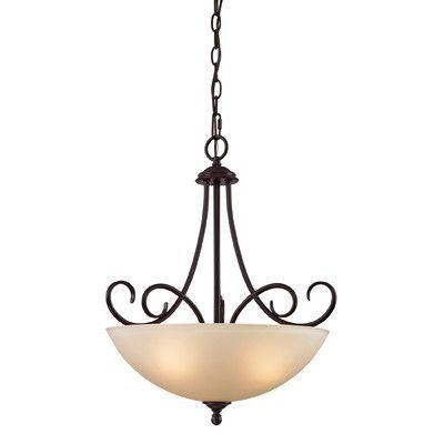 Cornerstone Lighting Chatham 3 Light Bowl Pendant Finish/Glass Color: Oil Rubbed Bronze/Light Amber