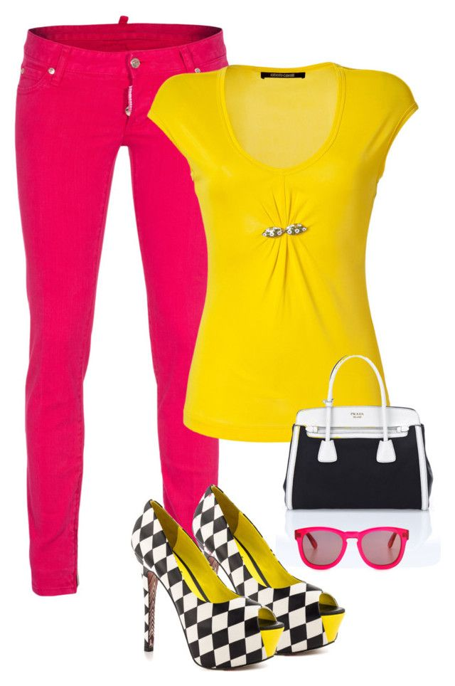 """""""Pink Jeans"""" by majezy ❤ liked on Polyvore featuring Dsquared2, Roberto Cavalli, Prada, TaylorSays, Wildfox, Summer, yellow, Pink and jeans"""
