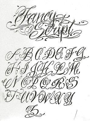 font script, styles viking, california gangster, on tattoo template lettering alphabet