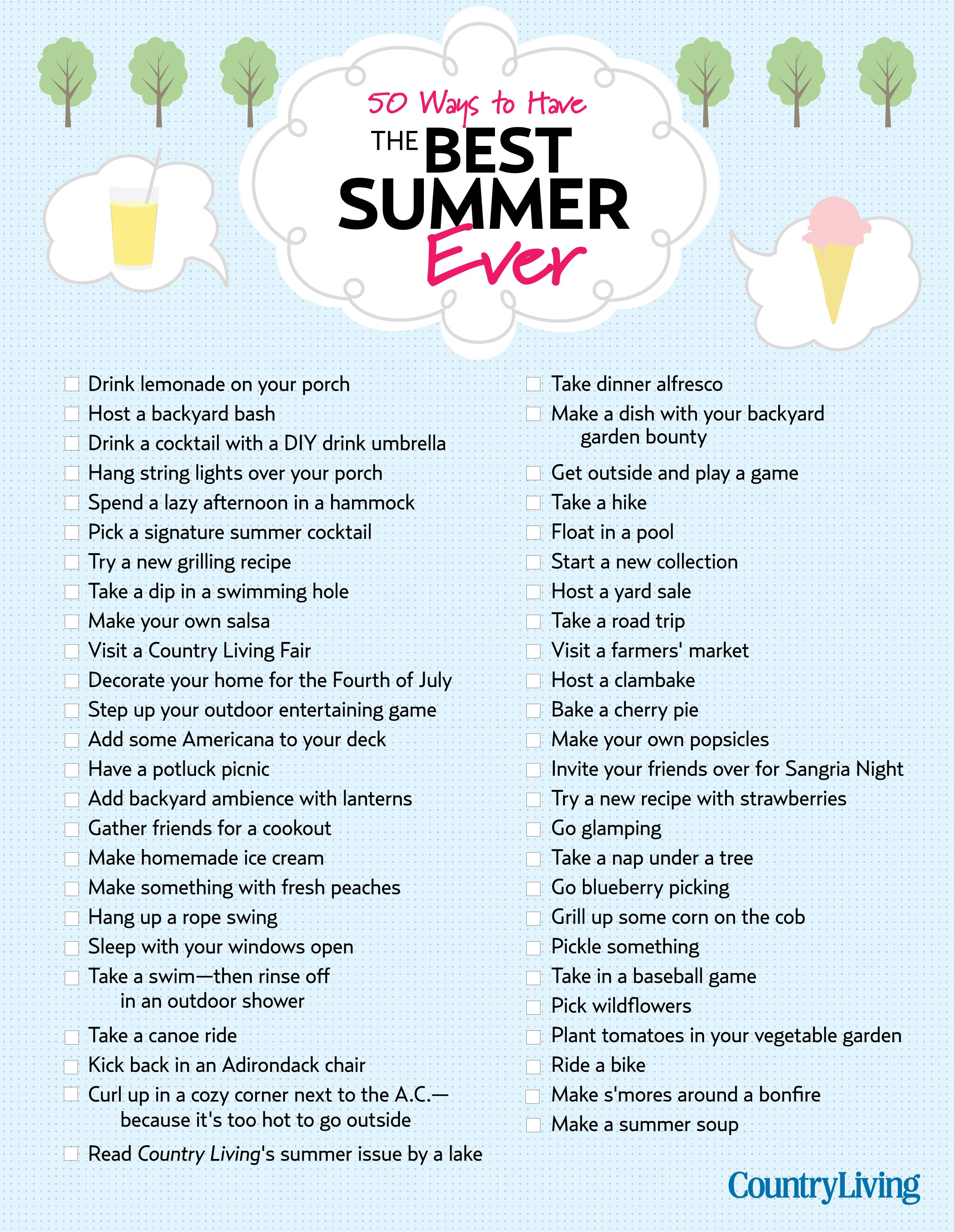 57 ways to have the best summer ever summer bucket lists fun