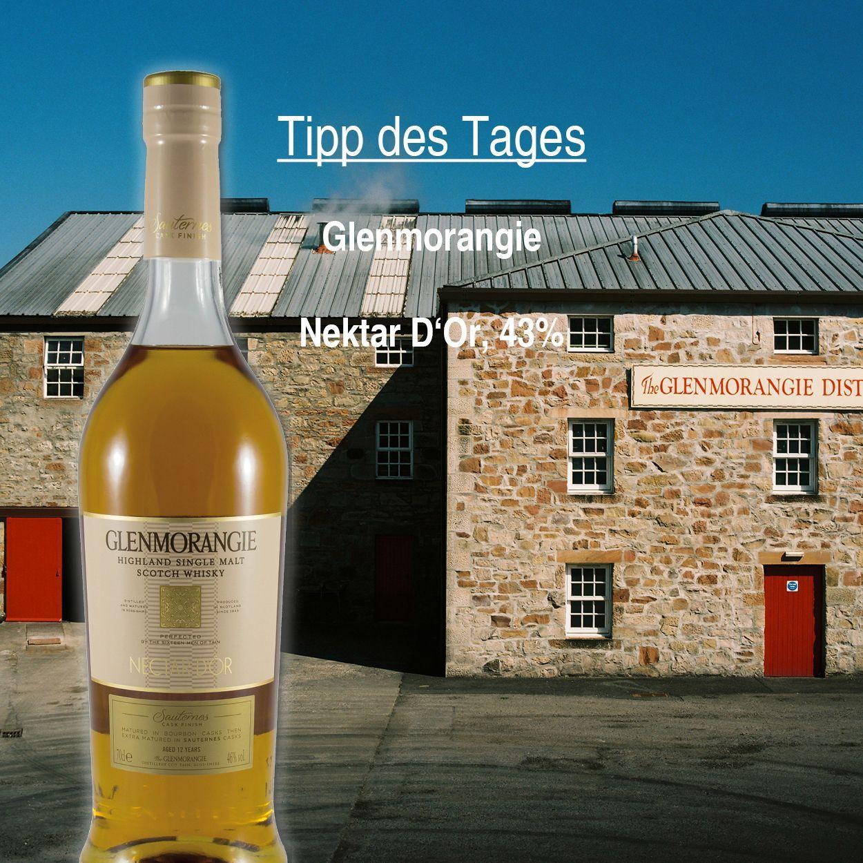 Unser Tipp des Tages!  Glenmorangie Nektar D'Or, 43%. Ein #Scotch #Whisky der in handverlesenen Wein-Barriques aus Frankreich gereift ist. Dadurch entstand sein reichhaltiges, würziges und dessert-artiges Aroma.