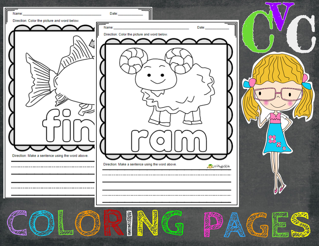 Cvc Coloring Worksheets 64 Pages