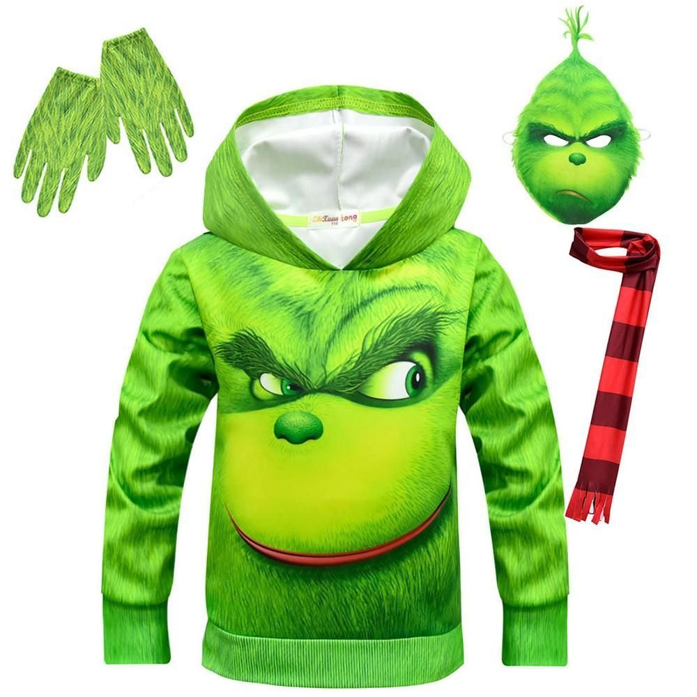 The Grinch Child Hoodie Halloween Costume 4 Sets Hoodie