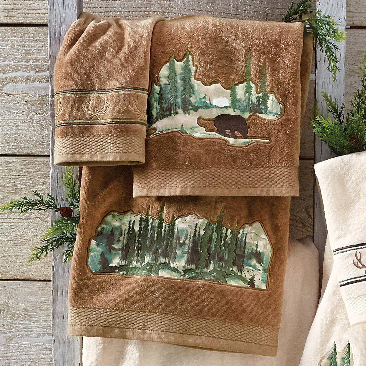 Misty Morning Bear Towel Set Mocha Towel Set Black Forest Decor Towel