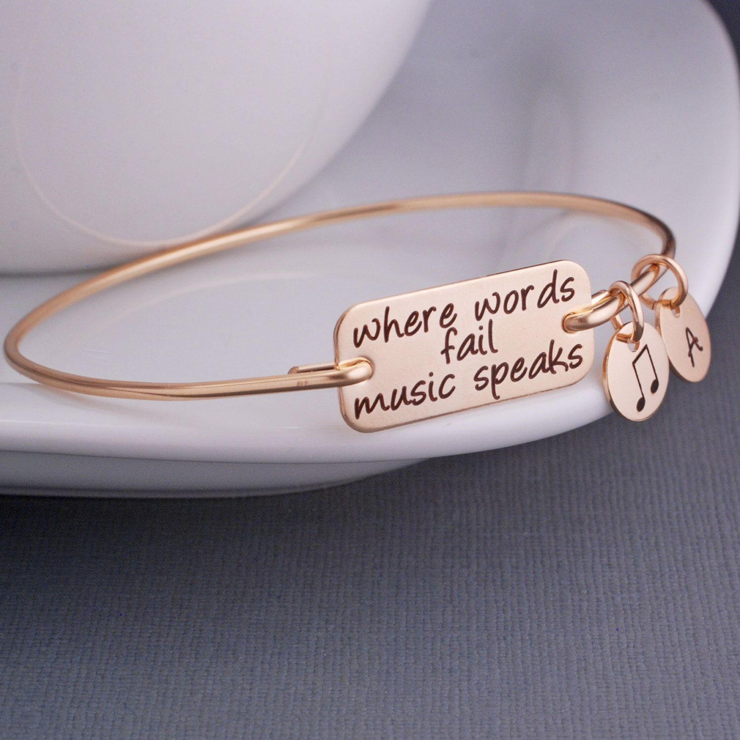 Music bracelet where words fail music speaks bangle bracelet music