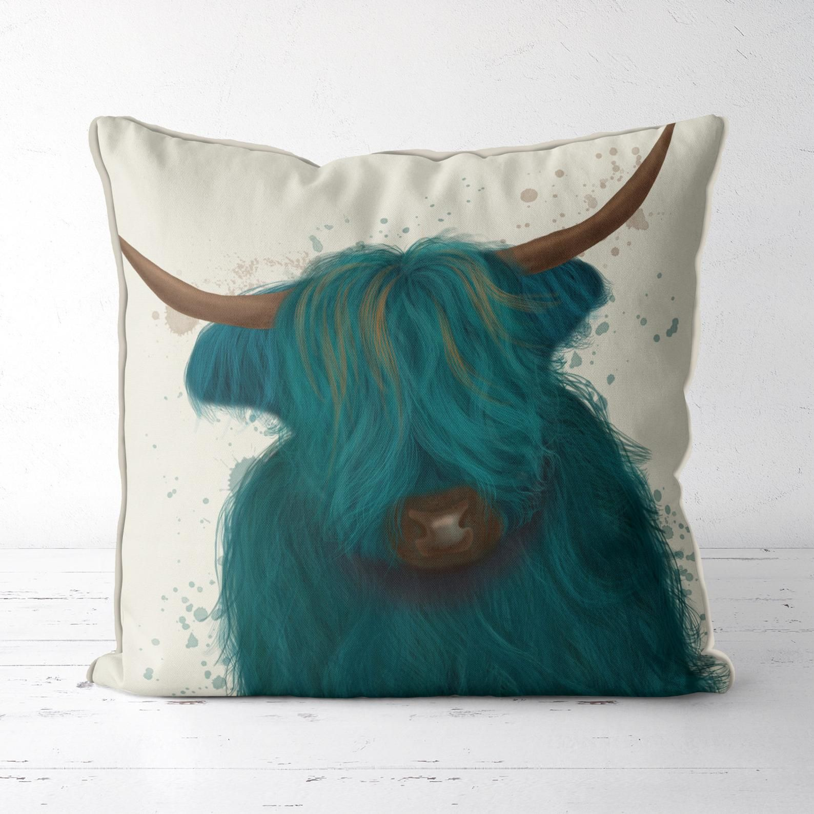 Highland Cow in Turquoise - Modern Farmhouse decor cow farm gifts cow cushions farm animal pillows farm nursery scottish highland coo cover