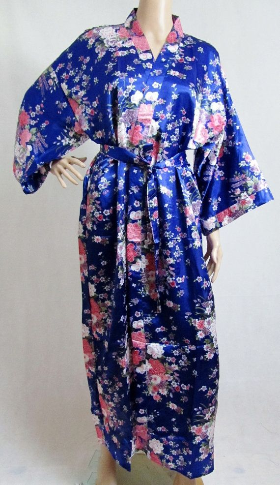 Blue Silk LONG Bathrobe, House coat, kimono, dressing gown ...