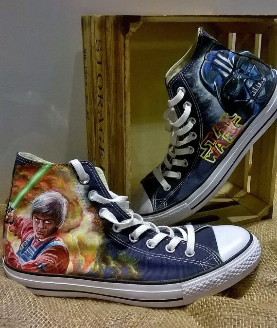 Star Wars hand painted converse shoes , custom Star Wars