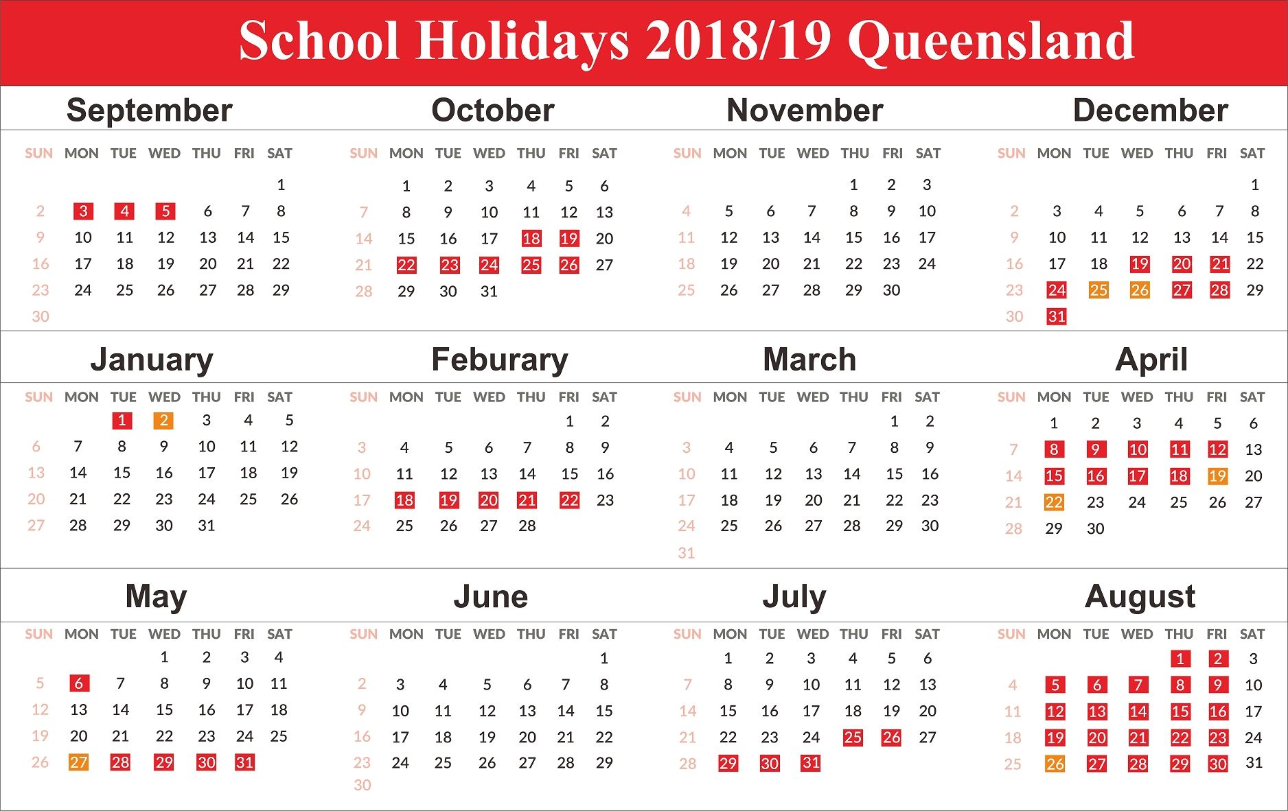 Pick Free Printable 2019 2019 School Calendar School Holiday