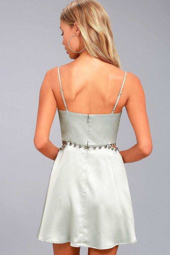 c9c348096a Be a party princess in the NBD Brandi Silver Satin Skater Dress! Sleek satin