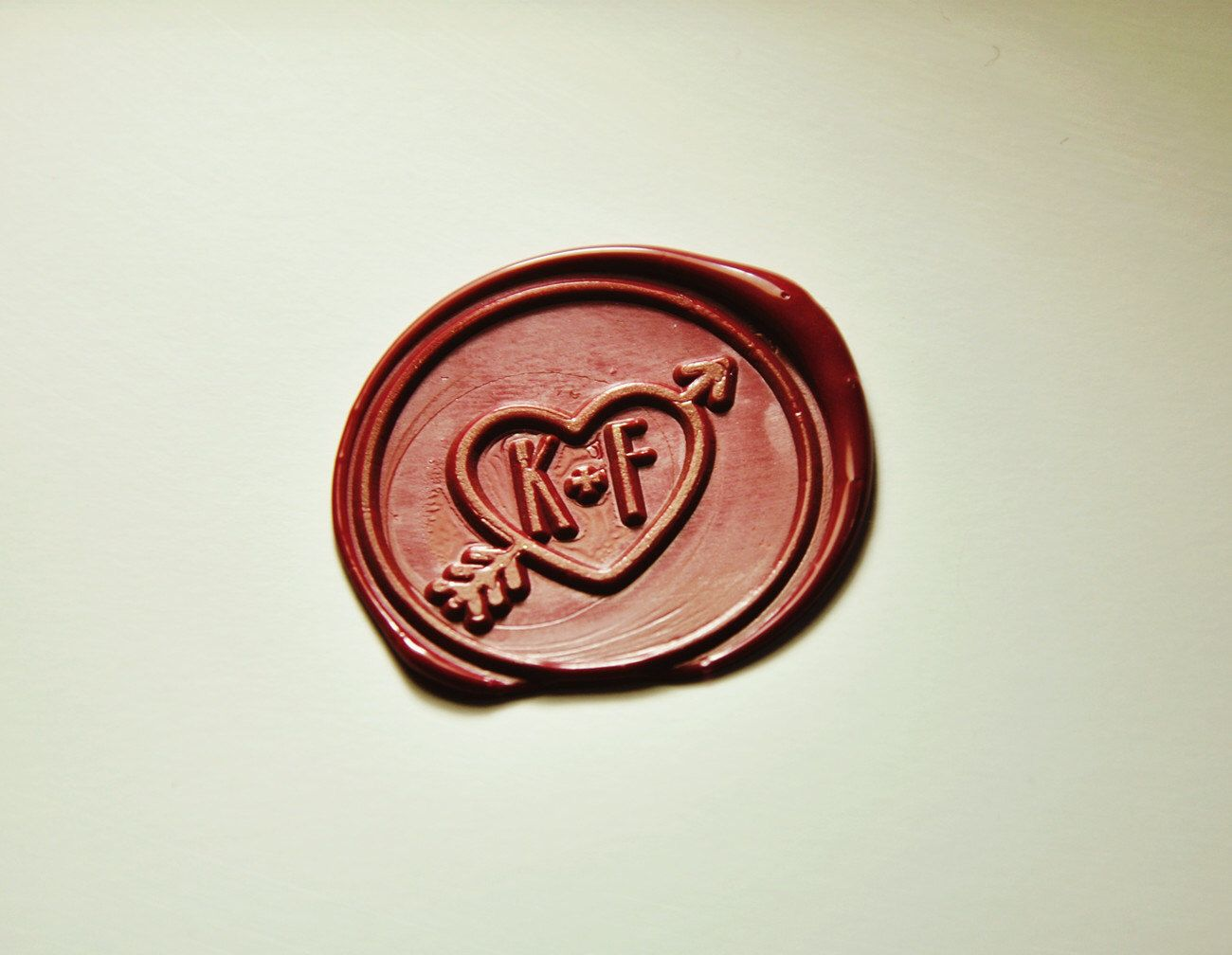 An Arrow Through A Heart Wax Seal Stamp 2 Initials Monogram