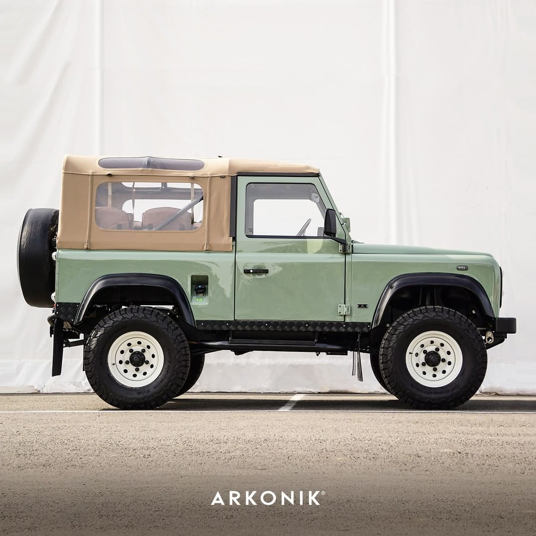 One Of Our Newest Builds This Month Perfect For Summer Days This Original Land Rover Light Green D90 Includes A Tan Land Rover Land Rover Defender Soft Tops