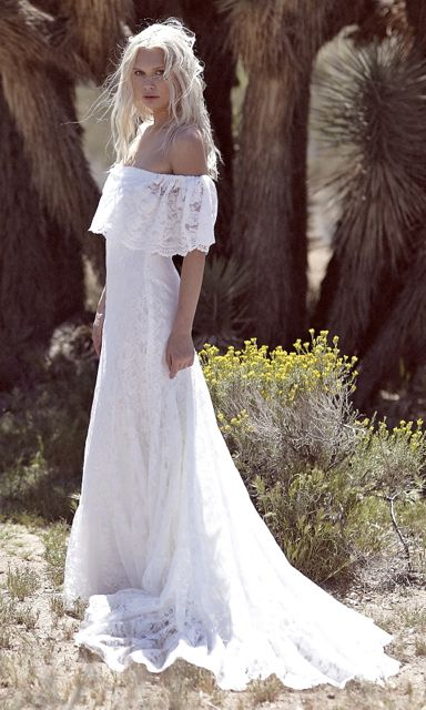 Lace Vintage Inspired Wedding Dress Gown White Bohemian Formal Dress Bohemian Wedding Gown Wedding Dresses Lace Wedding Dresses 101